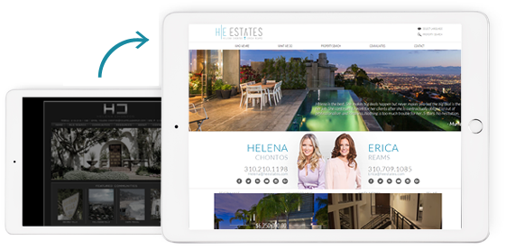 Before and After of HE Estates Real Estate Agent Website