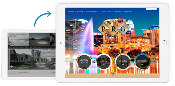 Before and After of PRG Real Estate Agent Website