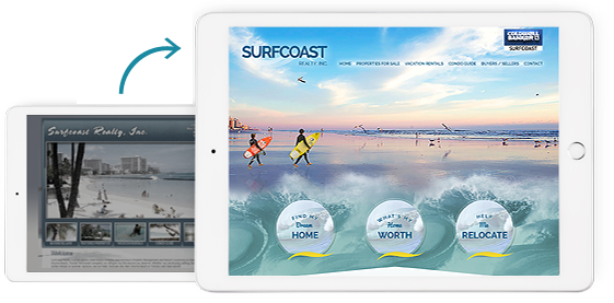 Before and After of Surfcoast Real Estate Agent Website
