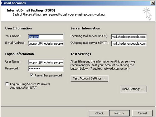 Fill in the User Information, Server Information and Logon Information fields.