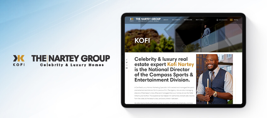 Kofi Nartey Bio is designed for a celebrity & luxury real estate properties