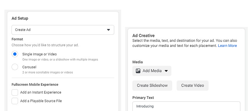 Choose your preferred ad type and set up your ads