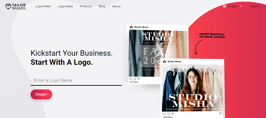Tailor Brands graphic design tool